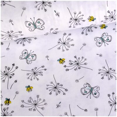Butterflies & bees white jersey
