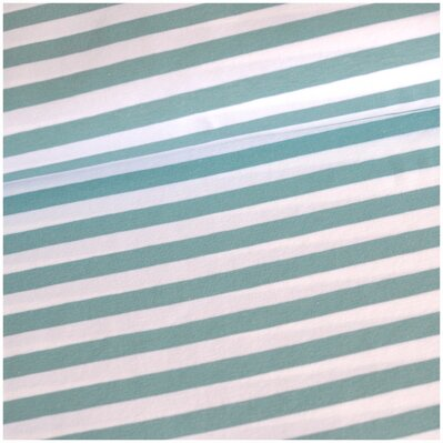 Stripes dusty mint-white 1cm jersey